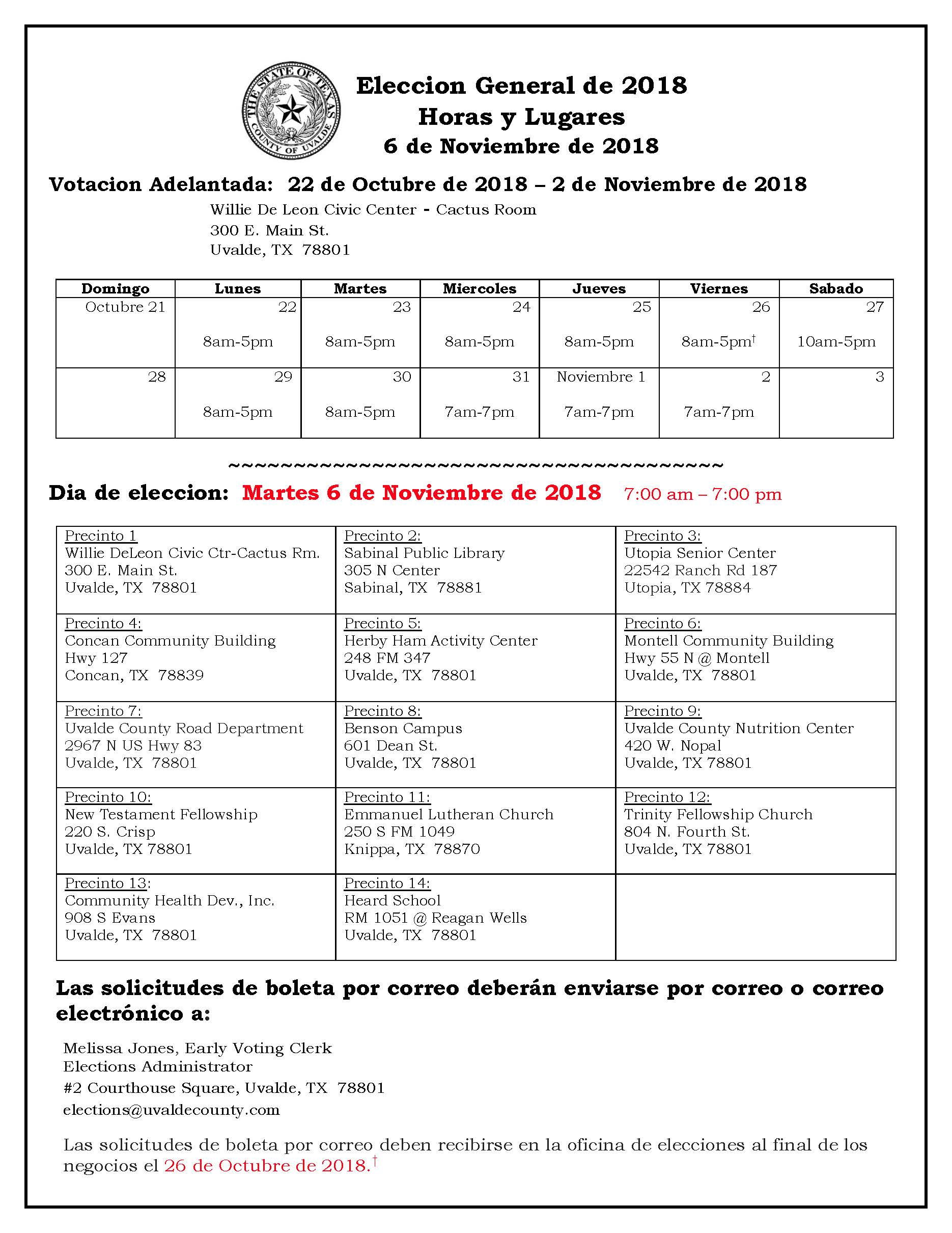 2018 General Hours and Location Flyer - Espanol